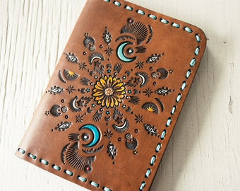 Leather Passport Cover - Sunflower Moon - Southwestern Inspired Passport Wallet - Turquoise Crescent Moon - Made to Order - Travel Gift