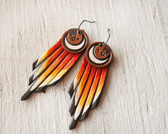 Crescent Moon & Shooting Star Fiery Sky Fringe Leather Earrings - Handmade and Painted Suede Jewelry - Mesa Dreams - Turquoise Southwestern