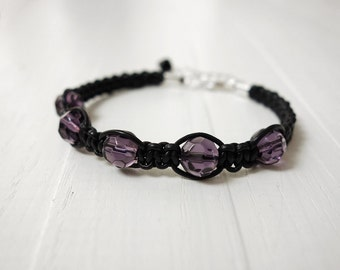 Macrame leather bracelet purple glass beads women leather bracelet leather cuff bracelet