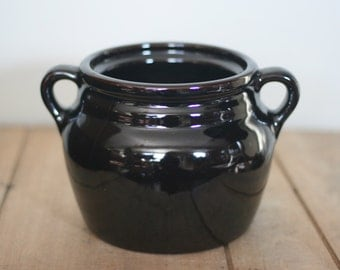 vintage brown glazed beanpot made in usa