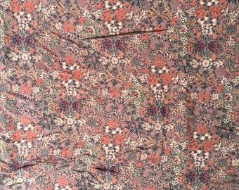 Floral Mauve Rayon Fabric Yardage Destash