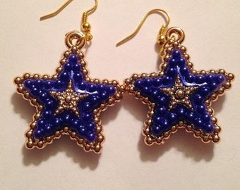Dark Blue and Gold Star Earrings