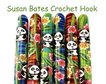 Susan Bates Polymer Clay Covered Crochet Hook, Panda Design