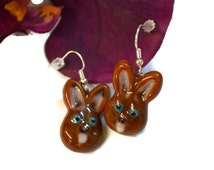 Chocolate Fused Glass Bunny Earrings, Easter Bunny Earrings, Easter Jewelry, Glass Rabbit