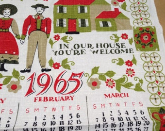 1965 Linen Kitchen Towel PA Dutch Style In Our House You're Welcome Prop