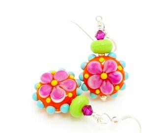 Orange Pink Lime Earrings, Colorful Flower Earrings, Lampwork Earrings, Glass Earrings, Bright Colorful Earrings, Beadwork Earrings