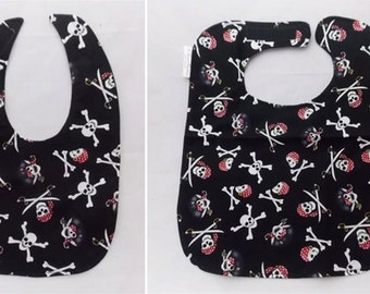 Jolly Roger - Small OR Large Baby Bib