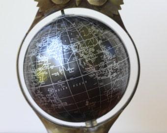 Vintage Metal Owl Globe, Mid Century Modern Decor