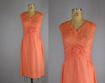 vintage 1960s dress / 1960s chiffon party dress  / Meloni dress