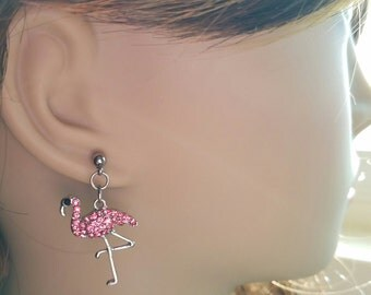 Glamour Pink Flamingo Earrings