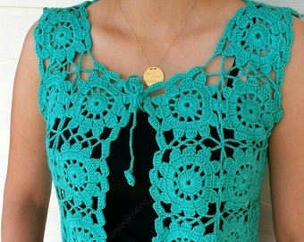 Granny Square Green Vest, Crochet Sweater, Lace Top, Romantic Top,Christmas Gift