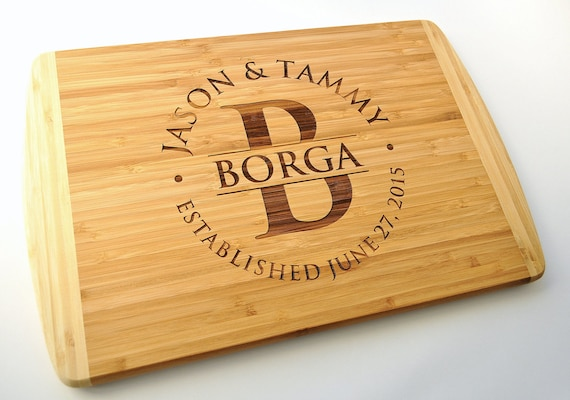 Personalized Cutting Board Laser Engraved Two Tone Bamboo 12x18