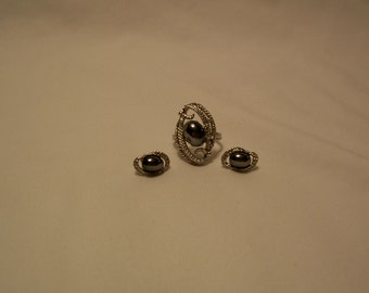 Sara Coventry, Ring, Earrings, Silver Ring, Ebb Tide, Vintage Jewelry