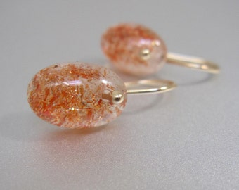 Small Sunstone Ovals Solid 14k Gold Earrings
