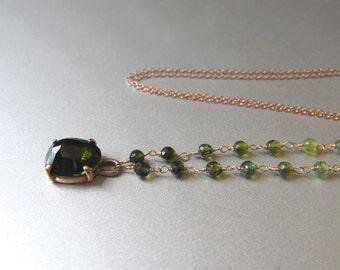 Rose Cut Green Tourmaline Solid 14k Rose Gold Necklace