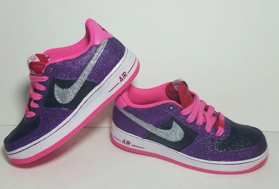 delicate Nike Air Force 1 Glitter Sneakers Size 6 youth by KikosDesigns ee49f19d2