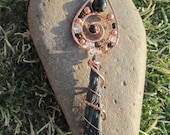 Sacred Spiral/Grounded Awareness///Black Kyanite, Double Terminated Pakimer quartz, Tourmaline and Copper Wire Wrap Pendent, One of a Kind