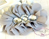 Reign Collection 2 pcs Silk Fabric Flowers with Rhinestones  - LIGHT GREY Charcoal floral embellishments Layered Bouquet fabric flowers