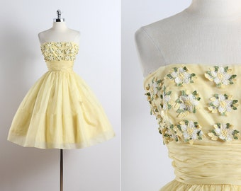 Buttercup . vintage 1950s dress . vintage party dress . 5649