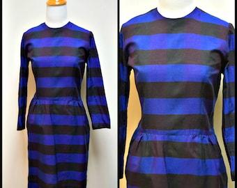 Vintage 50s/60s YOUTH GUILD Black Royal Purple Blue Check Wiggle Dress Size XS