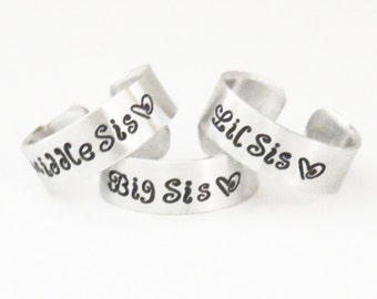 3 sisters rings gifts for sisters big sis middle sis lil sis rings - 3 sister rings - Three sisters rings - Sister jewelry