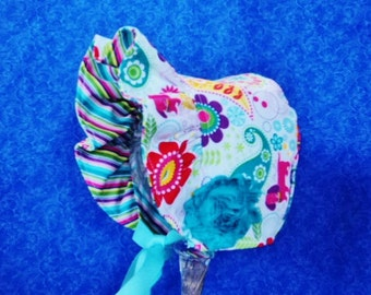 Baby Girl Baby Bonnet Reversible Paisley with Flowers and Dogs