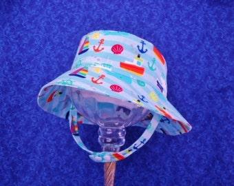 Baby Boy Beach Hat Bucket Hat Sunhat with Chin Straps
