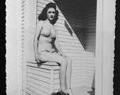 Vintage 1945 Photo - Teen Girl in Two Piece Bathing Suit and Wedge Shoes