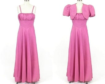 1940s Dress, Vintage 40s Dress, Mauve 1940s Evening Dress and Cropped Bolero Jacket, As-Is