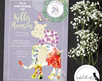 Animal Baby Shower Invitation, Shabby Chic, Watercolor, Floral, Lavender Green, Wreath, DIY, Printed or Printable Invitations, Free Shipping