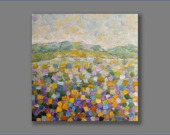 Oil Painting Original Contemporary Purple Lavender Abstract Flowers Living Room Art Original Artwork Painting by Mirjana