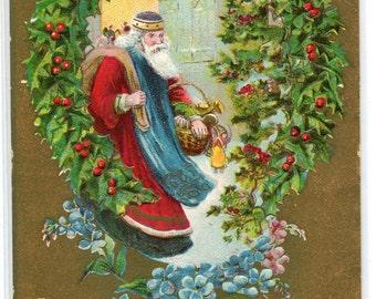Santa Claus Christmas Wreath 1909 postcard