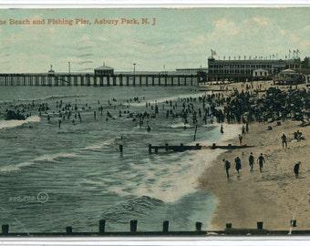 Beach & Fishing Pier Asbury Park New Jersey 1910 postcard