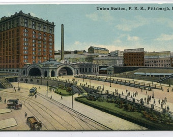 Union Depot Pennsylvania Railroad Pittsburgh PA 1910c postcard