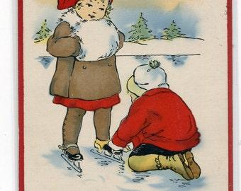 Good Fun Friends Joy Merry Christmas Day 1915 postcard