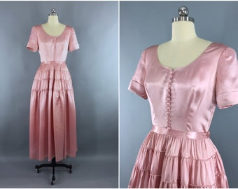 Vintage 1930s Dress / 30s Satin Gown / Fred Perlberg / 1940s Pink Maxi Dress / 30s 40s Wedding Dress / Medium M 6