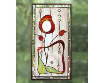 Agate Stained Glass Panel Red Flower Art Nouveau Stained Glass
