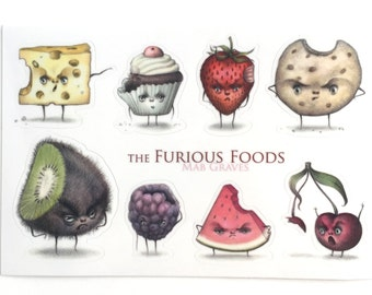 Furious Foods Sticker Sheet - by Mab Graves