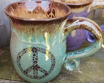 MADE TO ORDER Peace Coffee Mug Hippie Gift Handmade pottery mug Infused with Reiki -Blue Green Brown Rustic Earthy Pottery Crop Circle Clay
