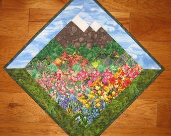 Tahoe Blue Skies Mountain Flowers Art Quilt, Fabric Wall Hanging, Quilted Wall Art, Landscape Art Quilt, Textile Art Quilt Quiltsy Handmade
