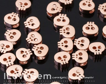 SALE / 10pcs / NP-1662 Matt Rose Gold plated, Mini skull Pendant, Tiny Skull beads, Skull Necklace Pendant