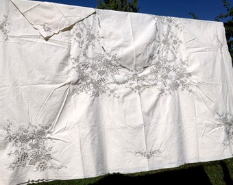 Large Linen Tablecloth Table Cloth - Machine Embroidered Bronze on Light Ecru, 6 Matching Napkins 12845
