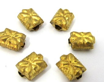 4 Beads - Light weight  brass beads antiqued gold color from Nepal- BD880