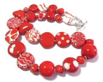 Red Kazuri Necklace, Ceramic Jewelry, Kazuri Bead Necklace, Red and White kazuri Necklace