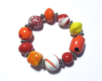 Kazuri Bangle, Fair Trade, Ceramic Jewellery, Autumn Colored Bracelet