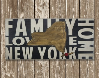 State Wall Decor - New York - Where We Love Is Home
