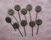 Destash antique bronze color metal hair pins. Lot of 10 hair pins.