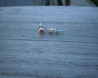 Lab Created Padparadscha Sapphire Stud Earrings 4mm