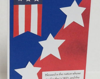 Blessed Is The Nation Whose God Is The Lord Patriotic Christian Card With Scripture