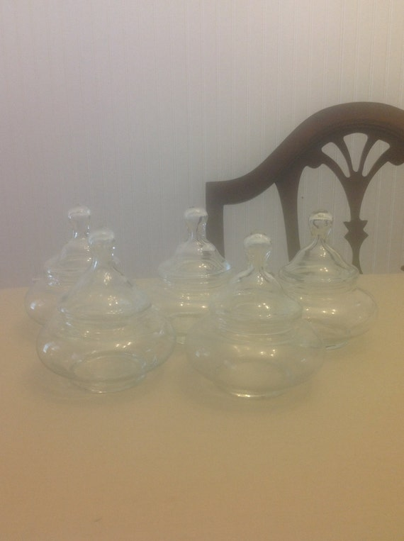 RESERVED for jfranzese - 5 Vintage Apothecary Jar - Roly Poly - Clear Glass / Short and Wide Small in Size
